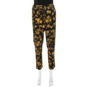 Michael Kors Black and Yellow Ikkat Print Wool Tapered Trousers M