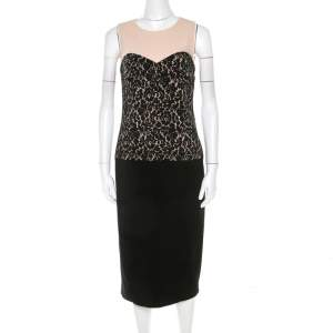 Michael Kors Black Lace Print Stretch Wool Crepe Dress M