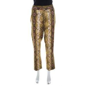 Michael Kors Multicolor Snakeskin Print Linen Stretch Straight Fit Trousers M