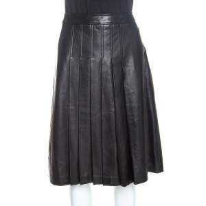 Michael Kors Dark Brown Leather Pleated Midi Skirt M