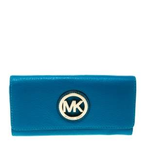 Michael Kors Blue Leather Fulton Flap Wallet