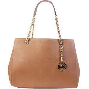حقيبة يد مايكل كورس جلد سلسلة مزدوجة بني