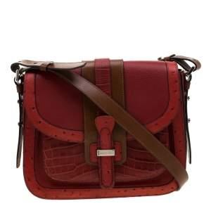 حقيبة مايكل كورس جيا سادال جلد محبب نقشة التمساح و النعام أحمر