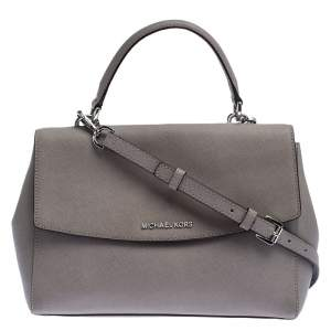 Michael Kors Grey Leather Ava Top Handle Bag