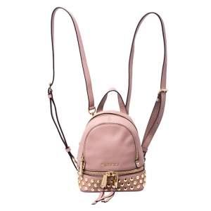 حقيبة ظهر مايكل كورس ترصيعات ميني ريا جلد بيج