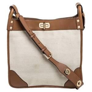 Michael Kors Brown Canvas and Leather Sullivan Messenger Bag