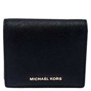 Michael Kors Black Leather Carryall Card Case Wallet
