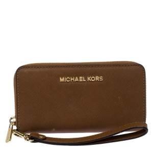 Michael Kors Brown Leather Zip Around Wristlet Wallet