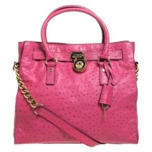 حقيبة يد مايكل مايكل كورس Hamilton North South كبيرة جلد نقش نعام وردية