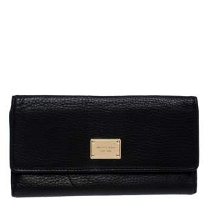 Michael Kors Black Leather Trifold Flap Continental Wallet