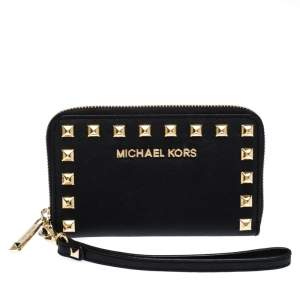 Michael Kors Black Saffiano Leather Studded Selma Wristlet Wallet