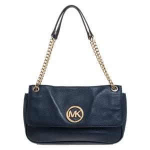 MICHAEL Michael Kors Blue Leather Flap Shoulder Bag