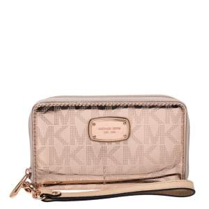 Michael Kors Metallic Rose Gold Logo Patent Leather Small Wristlet Wallet