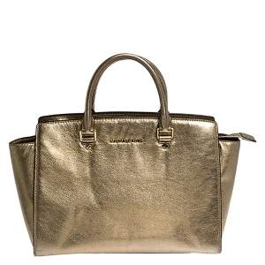 MICHAEL Michael Kors Gold Leather Large Selma Satchel