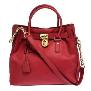 حقيبة مايكل مايكل كورس هاميلتون نورث ساوث كبيرة جلد أحمر