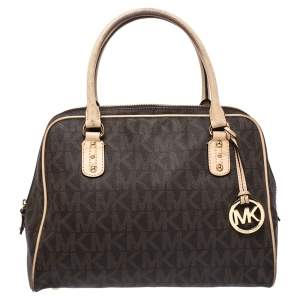 MICHAEL Michael Kors Brown Coated Canvas and Leather Cindy Dome Satchel