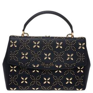 Michael Kors Navy Blue Studded Leather Medium Ava Top Handle Bag