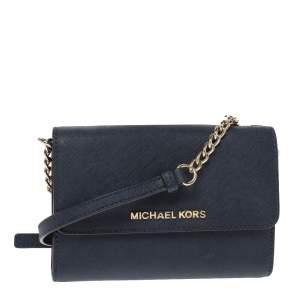 Michael Kors Navy Blue Leather Jet Set Flap Crossbody Bag