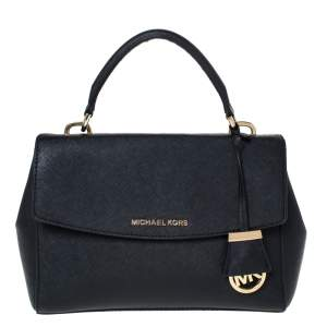Michael Kors Black Leather Small Ava Top Handle Bag