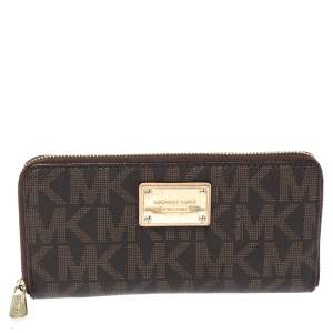 Michael Kors Brown Signature Coated Canvas Zip Around Wallet