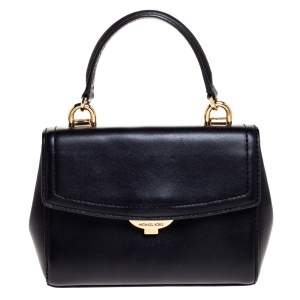 Michael Kors Black Leather Ava Top Handle Bag