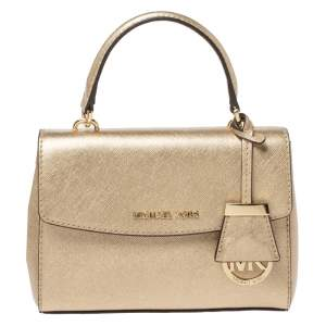 Michael Kors Metallic Gold Leather Mini Ava Top Handle Bag