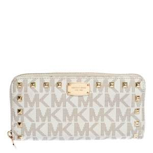 Michael Kors White Signature Coated Canvas Studded Zip Around Continental Wallet