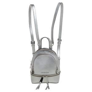 Michael Kors Silver Leather Mini Rhea Backpack