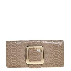 Michael Michael Kors Light Olive Python Effect Leather Sutton Clutch