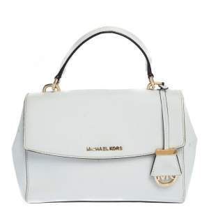 Michael Kors White Leather Small Ava Top Handle Bags