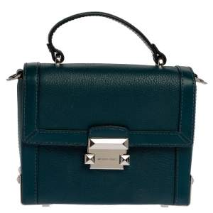 Michael Kors Dark Teal Leather Small Jayne Top Handle Bag