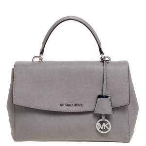 Michael Kors Grey Leather Medium Ava Top Handle Bag