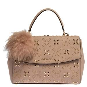 Michael Kors Pink Studded Leather Medium Ava Top Handle Bag
