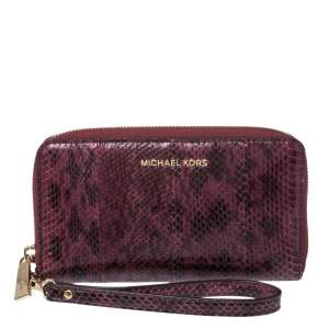 Michael Kors Burgundy Python Zip Around Wristlet Wallet