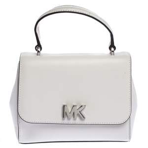 Michael Kors White Leather Mott Top Handle Bag