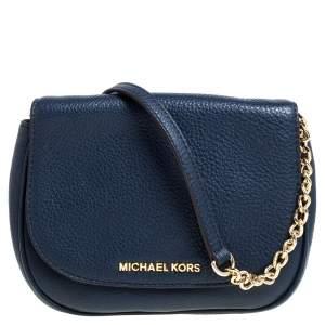 Michael Kors Blue Leather Flap Crossbody Bag