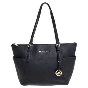 """حقيبة يد مايكل مايكل كورس """"جيت سيت"""" سحاب علوي متوسطة جلد أسود"""