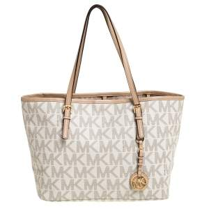 Michael Kors White/Beige Coated Canvas and Leather Small Jet Set Tote