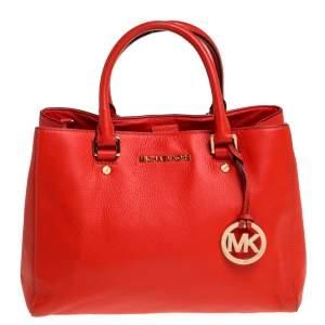 حقيبة يد مايكل كورس سوتون متوسطة جلد برتقالية