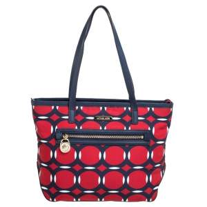 MICHAEL Micheal Kors Red/Blue Deco Print Nylon and Leather Kempton Tote