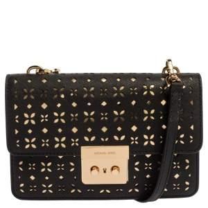 Michael Kors Black Perforated Leather Editor Sloan Crossbody Bag