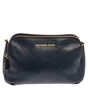 Michael Kors Navy Blue Leather Bedford Zip Crossbody Bag
