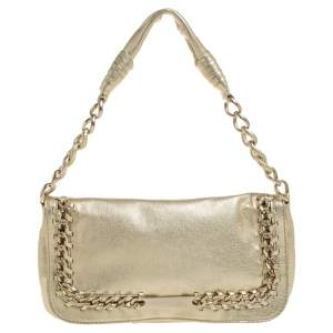 Michael Kors Gold Leather Chain Link Flap Baguette Bag