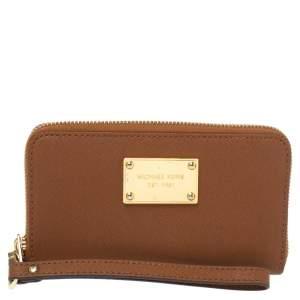 Michael Kors Brown Leather Jet Set Zip Around Wristlet Wallet