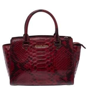 Michael Michael Kors Red Python Embossed Leather Medium Selma Satchel