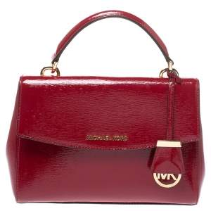 Michael Kors Red Patent Leather Small Ava Top Handle Bag