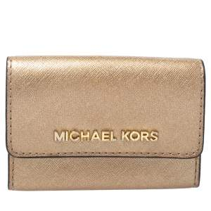 Michael Kors Metallic Gold Leather Flap Card Holder