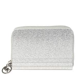 Michael Kors Silver Glitter Acrylic Za Barbara Zip Around Coin Purse