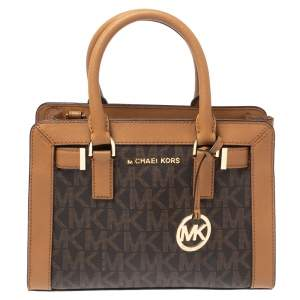 Michael Kors Two Tone Brown Signature Coated Canvas and Leather Small Dillon Tote
