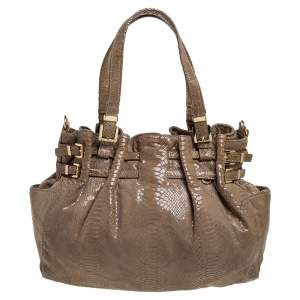 MICHAEL Michael Kors Beige Python Effect Patent Leather Buckle Strap Shoulder Bag